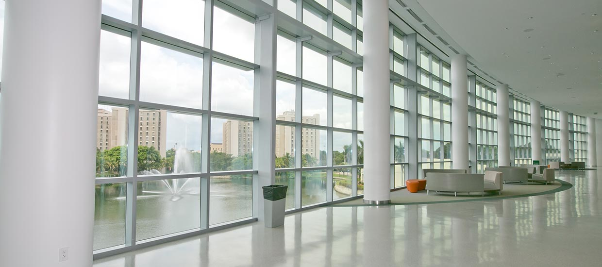 Hallway with windows outside of the Shalala Center ballrooms