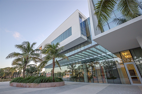view of Shalala Student Center near the Miller Circle shuttle stop