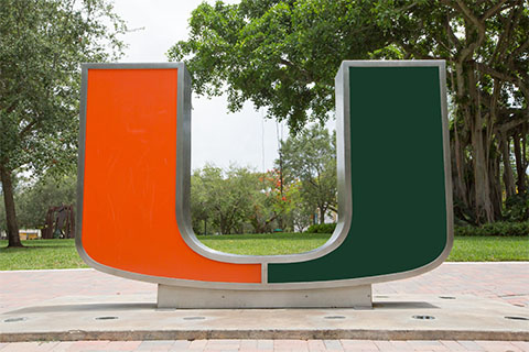 The U Statue next to the Rock Plaza