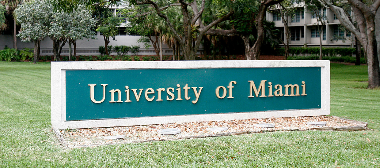 University of Miami sign at the campus entrance