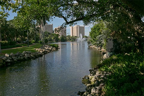 View of Lake Osceola and dormitory towers from the University Center bridge