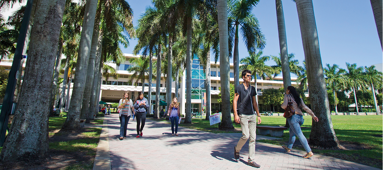Students walking in front of the Richter Library